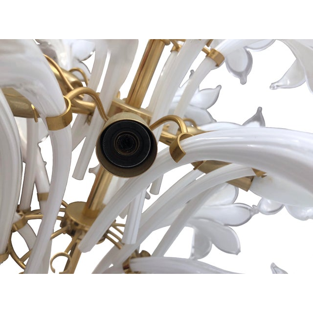 Brass and White Murano Lily Chandelier For Sale - Image 10 of 12