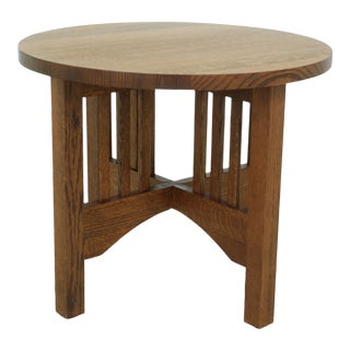 Mission Oak Round Stickley Style Lamp Occasional Table For Sale