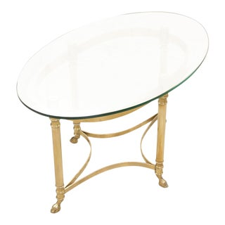 Italian Brass and Glass Side Table For Sale