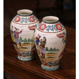 Pair of Early 20th Century French Hand Painted Vases Signed Hb Quimper Preview