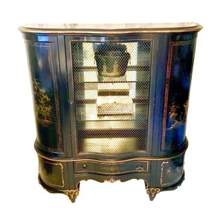 1920s Chinoiserie Hand Painted Black Lacquer Cabinet For Sale