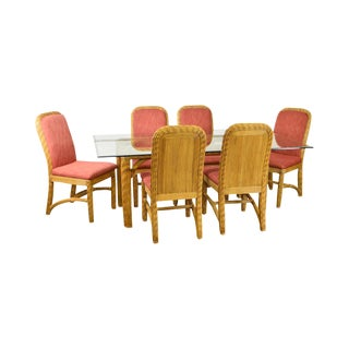 Braxton Culler Wicker Glass Top Table & 6 Chairs Dining Set For Sale