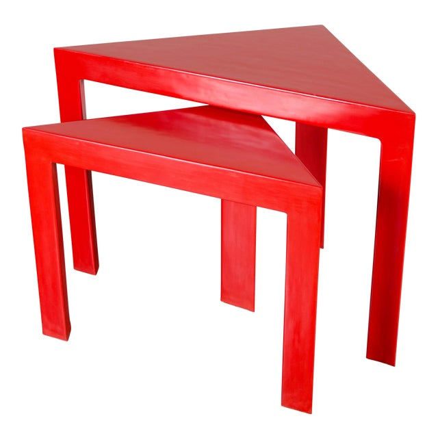 Red Lacquer Corner Nesting Tables - A Pair For Sale