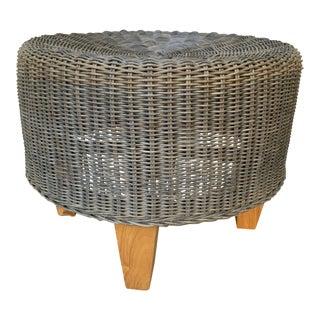 Rustic Wicker Wood Ottoman Footstool For Sale