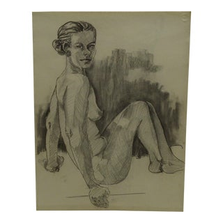 """Tom Sturges Jr. 1956 """"Leaning Back While Nude"""" Original Drawing on Paper For Sale"""