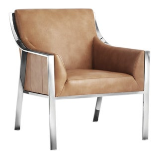 Sunpan Hyde Leather Stainless Steel Armchair For Sale