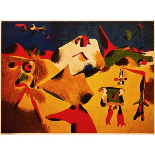 "Early 1940s Juan Miró, Original Period Lithograph ""Characters, Mountain, Sky, Star and Birds"" Preview"