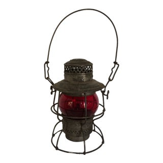 Antique Northern Plains Railroad Yard Lantern With Red Glass Globe For Sale