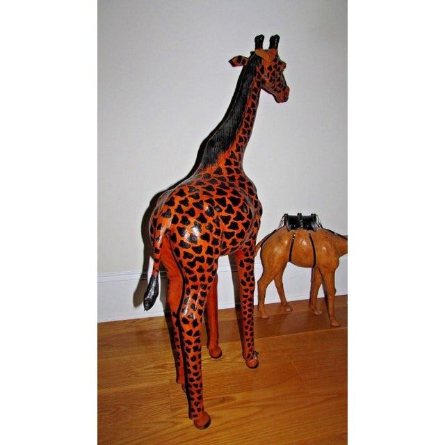 2000 - 2009 Handcrafted Leather Wrapped Paper Mache Giraffe and Camel - Set of 2 For Sale - Image 5 of 12