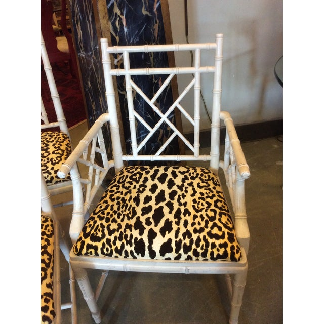 Boho Chic Faux Bamboo Dining Chair - Set of 4 For Sale - Image 3 of 13