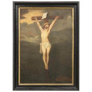 19th Century Italian Great Oil Painting on Canvas Crucifixion of Jesus For Sale