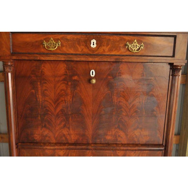 19th Century French Empire Flame Mahogany Drop Front Secretaire For Sale In Philadelphia - Image 6 of 10