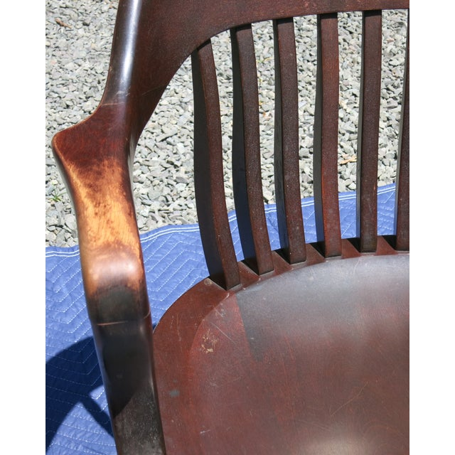 1920s Antique Bankers Chair For Sale - Image 4 of 9