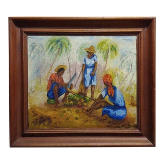 Raoul Dupoux - the Coconut Cracker -Haiti 1959 Oil Painting For Sale