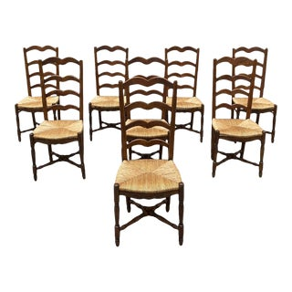 1910s Vintage French Country Provencal Rush Seat Walnut Dining Chairs - Set of 8 For Sale