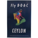 Image of Retro Style Modern Travel Poster, Fly BOAC For Sale