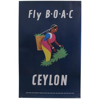 Retro Style Modern Travel Poster, Fly BOAC For Sale
