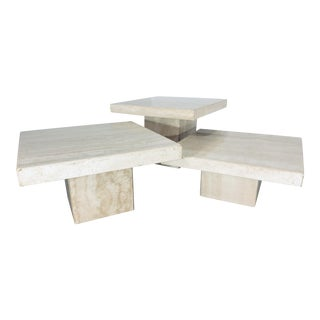 1970s Italian Polished Travertine Cocktail Tables - Set of 3 For Sale