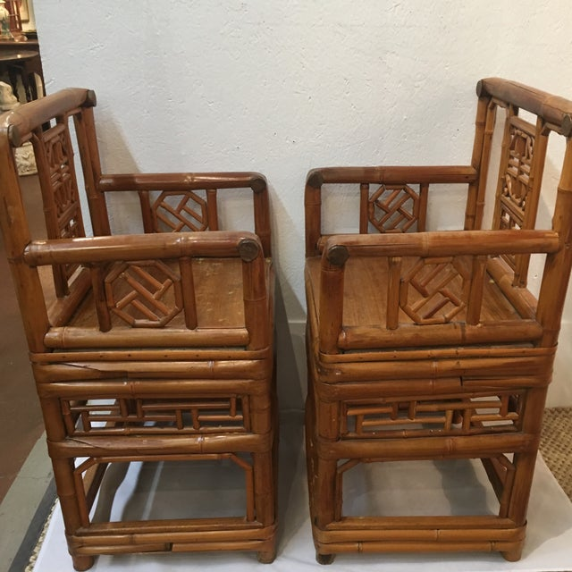 Bamboo Chinese Chippendale Arm Chairs - a Pair For Sale - Image 5 of 6