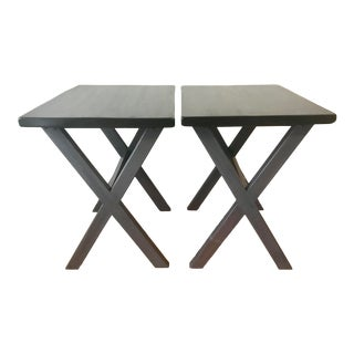 Vintage Arts & Crafts Handcrafted Black and Gray Side Tables - a Pair For Sale