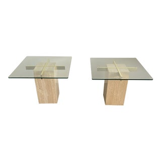 1970s Artedi Travertine Marble Occasional Tables-A Pair For Sale