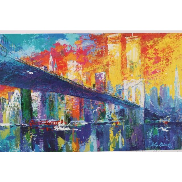 Paint 1995 Brooklyn Bridge Lithograph Ltd Ed Signed by American Artist LeRoy Neiman For Sale - Image 7 of 11