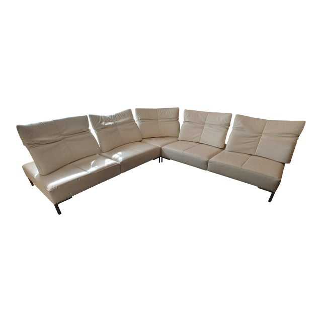 De Sede White Leather L-Shaped Sectional For Sale
