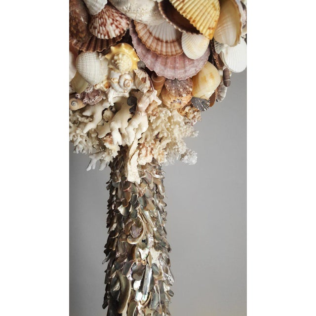 Contemporary Handmade Exotic Sea Shell Encrusted Silver Plated Display Pedestal For Sale - Image 3 of 10