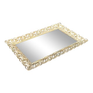 Hollywood Regency Gold Frame Rectangular Mirror Tray For Sale