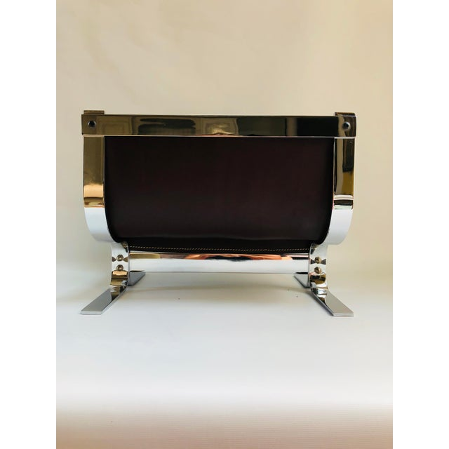 Mid-Century Modern Danny Alessandro Chrome & Leather Log Holder or Magazine Rack For Sale - Image 11 of 11