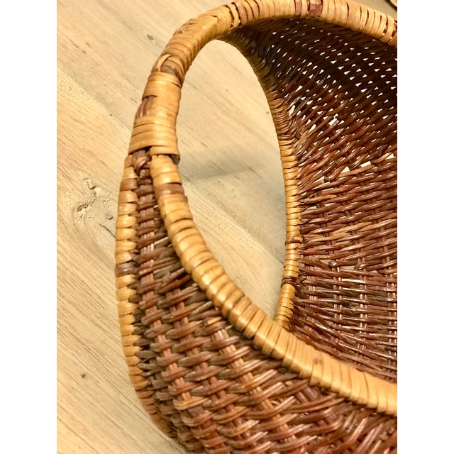 Nesting Gondola Woven Wicker Rattan Baskets - a Pair For Sale - Image 9 of 12