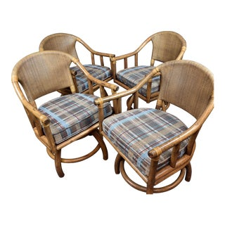 Mid-Century Modern Rattan Bamboo Swivel Armchairs - Set of 4 For Sale