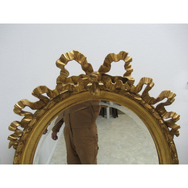 Vintage French Regency Gold Gilt Oval Hanging Wall Mirror For Sale - Image 4 of 13