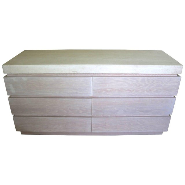 Wood Vintage Kreiss 6-Drawer Chest Cerused Oak Stone Top For Sale - Image 7 of 8
