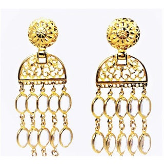 Balmain Gold & Crystal Shoulder Duster Earrings Preview