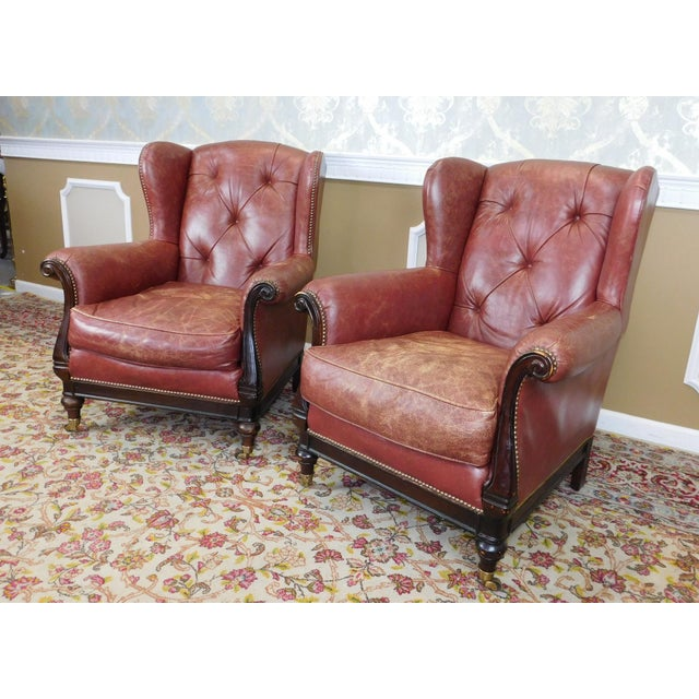 Lillian August Leather Wing Back Armchairs - A Pair - Image 5 of 10