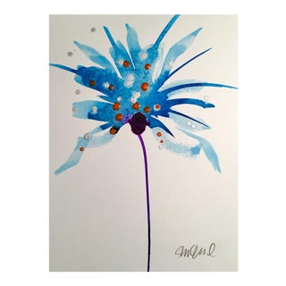 Original Watercolor Purple Stem Painting