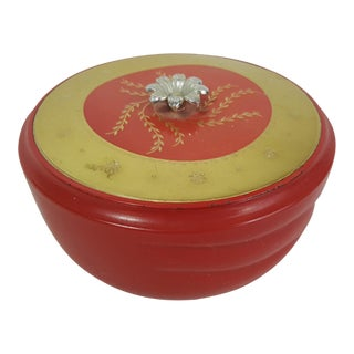 Vintage Red Glass Powder Jar For Sale