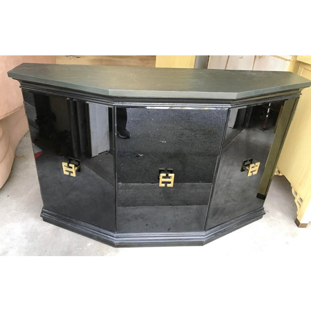 Vintage Modern Style Black Mirrored Glass Demilune Cabinet - Image 3 of 11