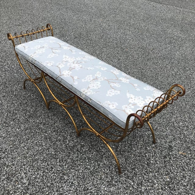 Vintage Mid Century Hollywood Regency Gilt Metal Bench For Sale - Image 11 of 13