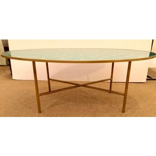 Modern Turquoise and Gold Geometric Design Reverse Painted Mirror Oval Cocktail Table Preview