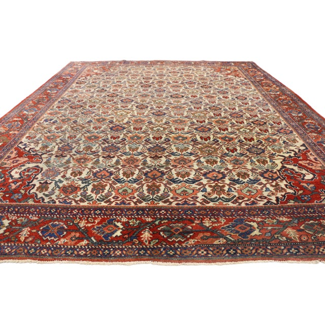 Arts & Crafts 1920s Antique Persian Mahal Rug- 8′8″ × 11′7″ For Sale - Image 3 of 10