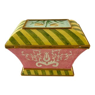 Italian Hand Painted Floral Tole Box For Sale