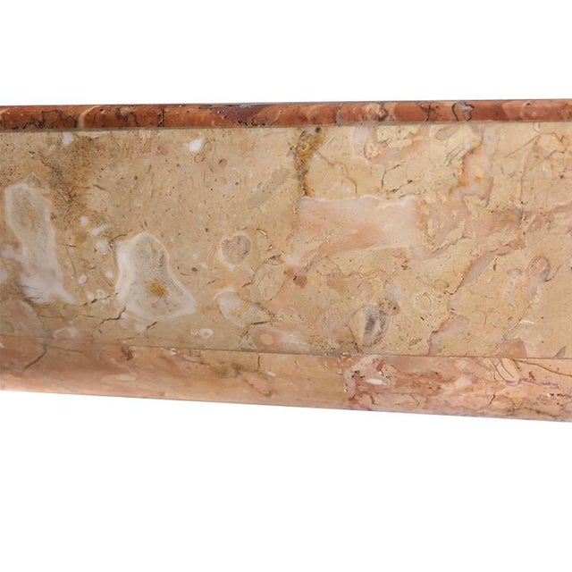 Mid-Century Modern Pink Marble Serpentine Dining Table With Oval Glass Top and Sculptural Waterfall Base Attributed to Karl Springer For Sale - Image 3 of 10