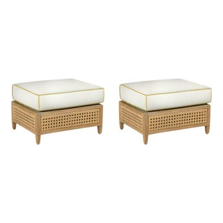 Keys Ottoman, Canvas White with Sunflower Yellow Welt, Pair For Sale