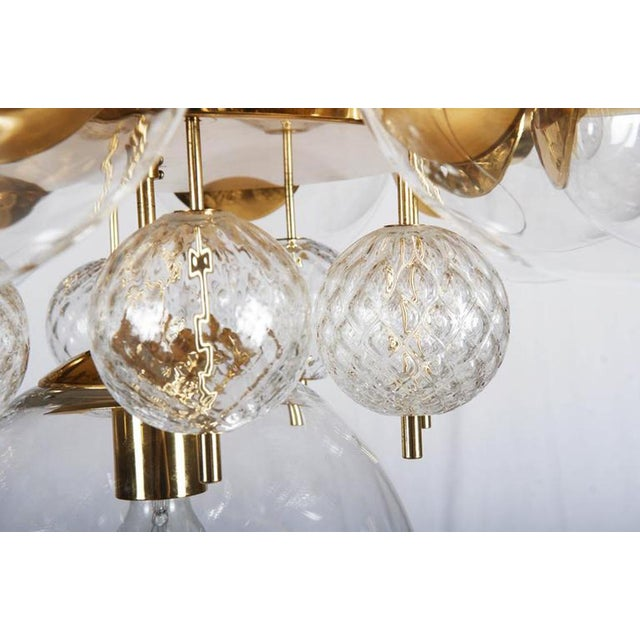Gold Large Brass Chandelier with Crystal Balls by Kamenicky Senov, 1960s For Sale - Image 8 of 9