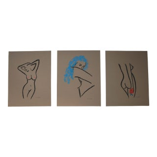 Minimalist Nude Pastel Paintings Set of 3 by Cleo Plowden For Sale