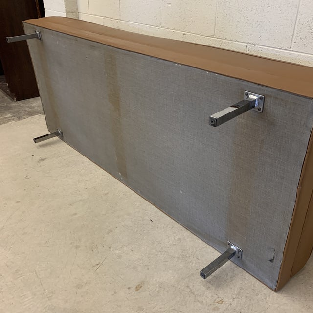 Silver Mid Century Modern Vinyl Hassock Sofa For Sale - Image 8 of 13
