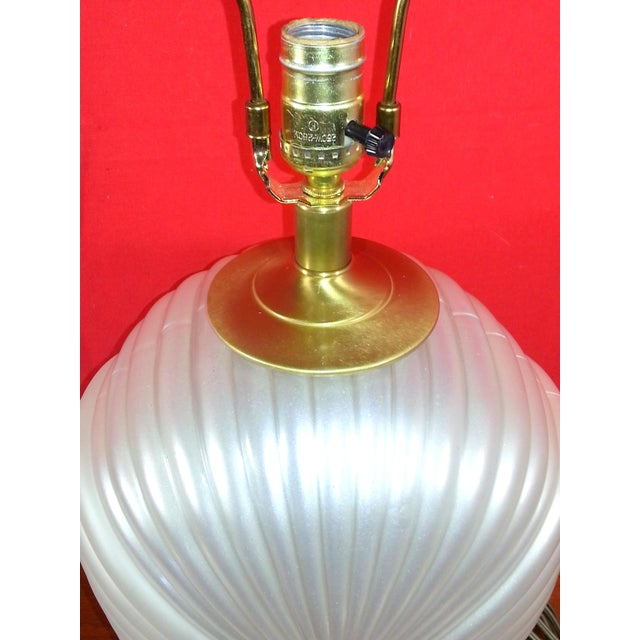 Art Glass Hollywood Regency Glass & Brass Table Lamp For Sale - Image 7 of 7