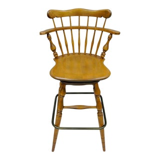 Ethan Allen Heirloom Nutmeg Maple Birch Wood Swivel Bar Stool Chair 10-6095 B